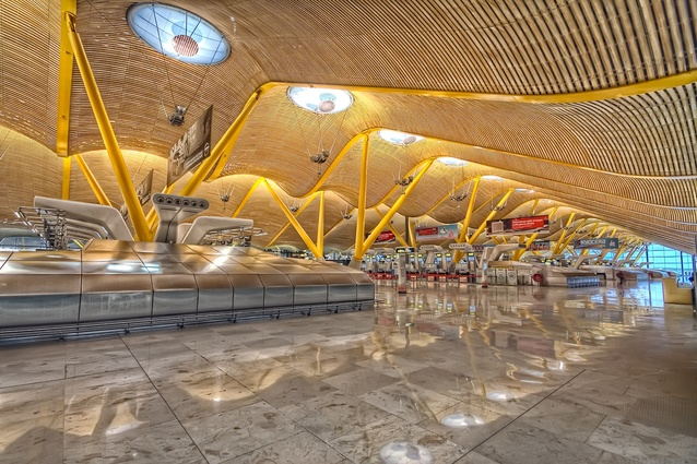 T4 Madrid Barajas Airport, Spain by RSH+P. The bamboo wave-shaped roof is connected by a chain of skylights, uniting the different functions of the airport.