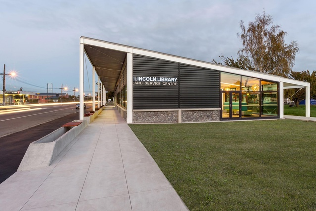 Public Architecture Award: Lincoln Library and Service Centre by Warren and Mahoney. East elevation.
