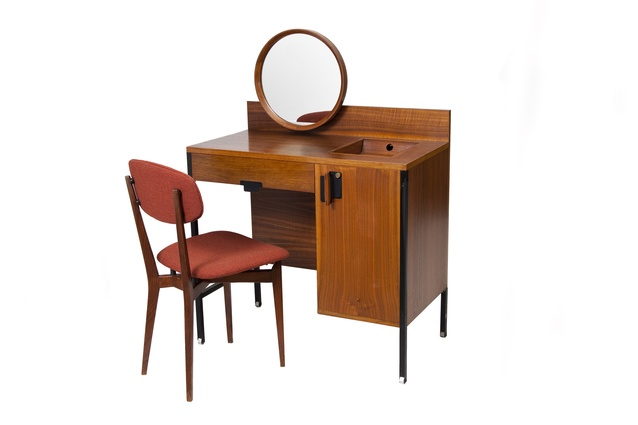 A Positano vanity table made by MIM, 1959, with a 691 chair by Ico Parisi made by Cassina, 1955, Italy.