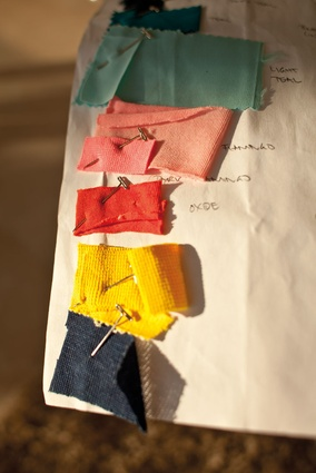 Fabric samples. Studio Sørensen is produced in a state-of-the-art clothing factory in the Braga region of Portugal.