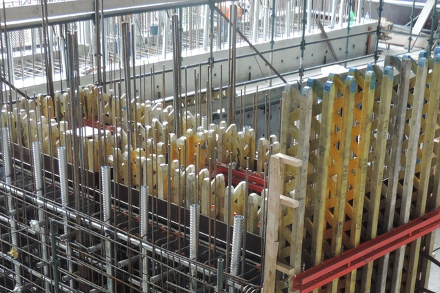 Peri Formwork is utilised to construct the strong walls - fixing sleeves, post tensioning ducts and reinforcing still exposed.