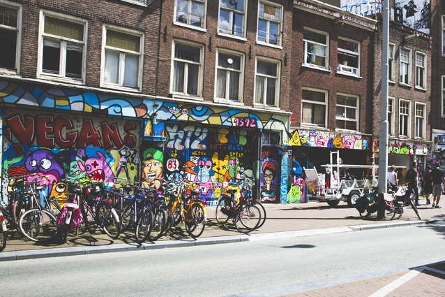 Amsterdam is a very flat city, making cycles the preferred method of transport.