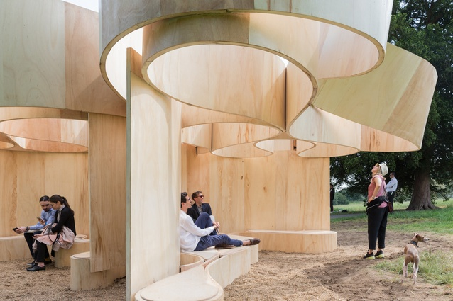 Serpentine Summer House 2016 designed by Barkow Leibinger. The horizontal banding recalls the layered coursing of Queen Caroline's Temple.