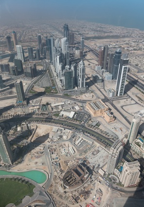 A view across Dubai from the top of the Burj Khalifa.