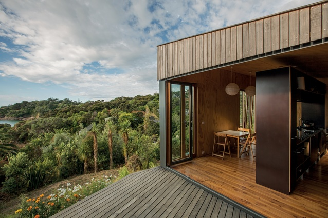 Cora House. The build avoided too much excavation, prioritised the retention of mature trees, and opened up views and circulations through the bush.