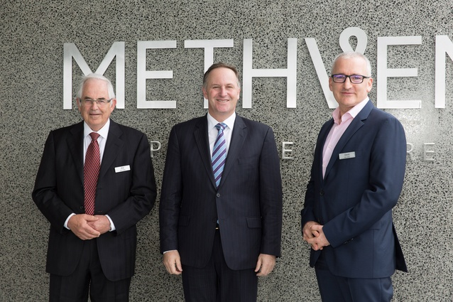 From left: Methven chairman Phil Lough, Prime Minister John Key and Methven Group CEO David Banfield.