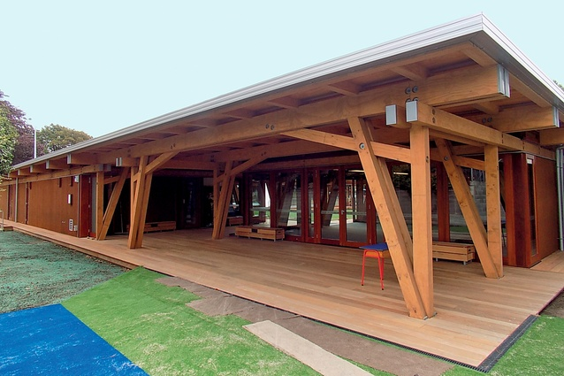 The Cathedral Grammar School, Christchurch. The design features EWP with complex rebated compression joints achieved with CNC accuracy by TimberLab.