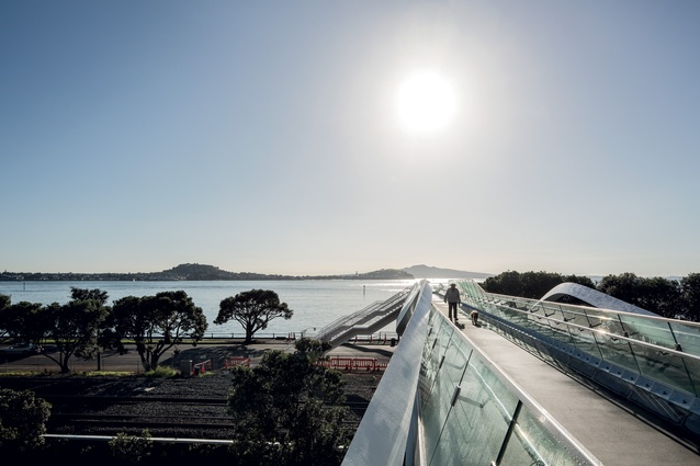Point Resolution Bridge is directly aligned with Rangitoto Island in Auckland's Hauraki Gulf.