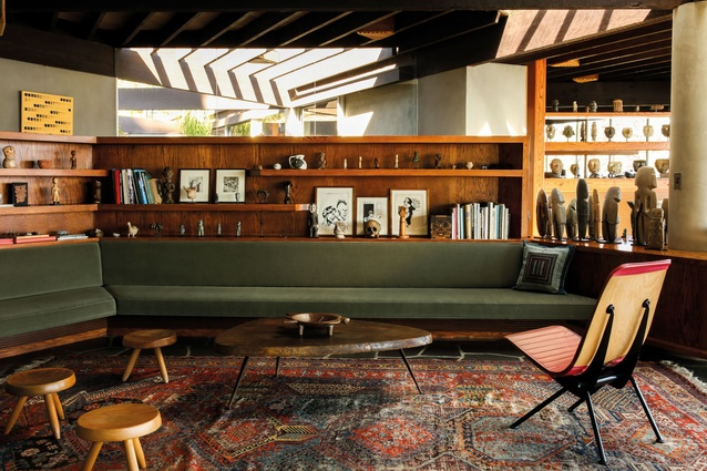 The John Lautner-designed house has been filled with Haddawy's collections of art and furniture. Pre-Columbian figures share space with contemporary art by Raymond Pettibon  and furniture by Nakashima, Prouvé  and others.