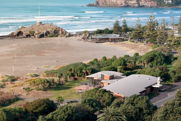 An aerial view of the new Sumner Surf Lifesaving Club, which overlooks Cave Rock, an unusual volcanic formation also known as Tuawera.