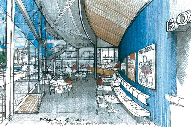 Design sketch of the foyer and cafe by Gordon Moller.