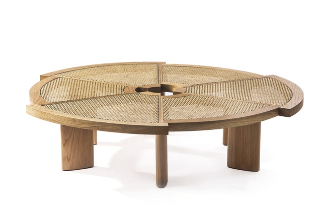 """Rio low straw-top table by Charlotte Perriand for Cassina 