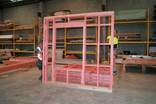 An assembled timber frame.