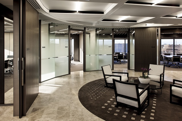 The suite of client meeting rooms on level 30 of the tower is finished in elegant, high quality materials.