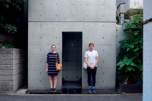 Nicole Stock and Henri Sayes in front of Tadao Ando's Row house in Osaka.