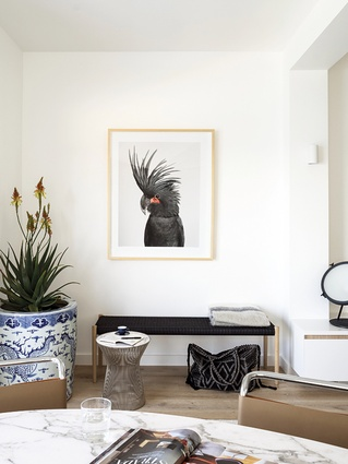 A touch of whimsy in the living room of this beachside Sydney apartment.