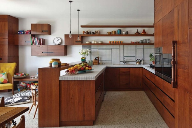 The kitchen space inside the Cubo House.