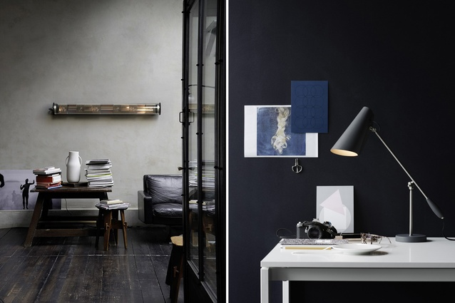 In the Tube pendant lamp by DCW éditions; Birdy table lamp by Northern Lighting.