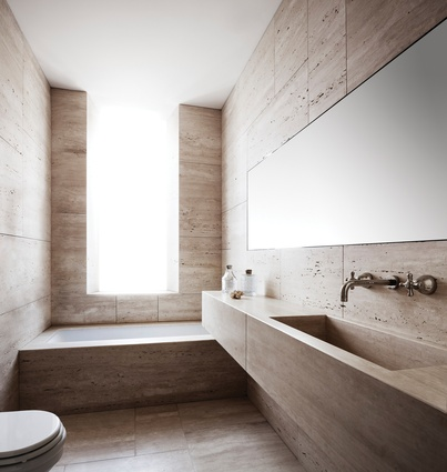 The overall feel is that of a classic Roman bathroom.
