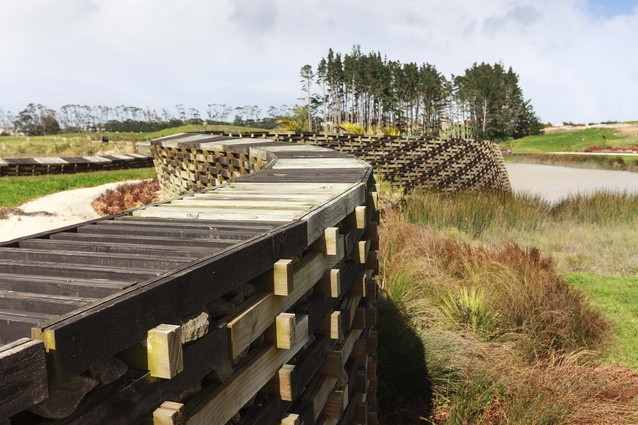 A tour followed the 'woven' timber crib retaining walls and pathways that meander through the new Kopupaka Reserve, designed by Isthmus Group.