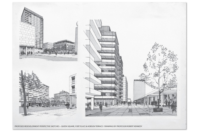 Proposed redevelopment perspective sketches - Queen Square, Fort Place & Hobson Terrace.
