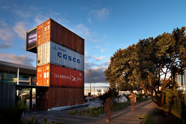 Karanga Plaza's boardwalk and information pavilion constructed from shipping containers.