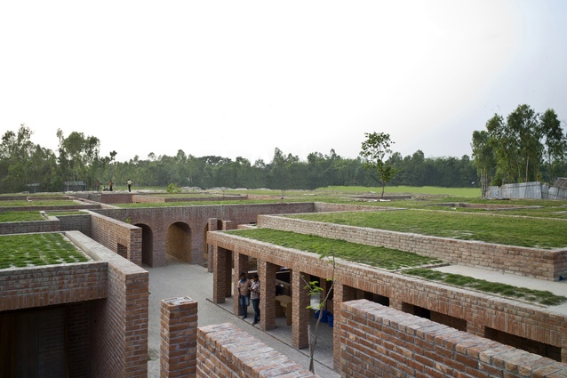 Friendship Centre, Gaibandha, Bangladesh. The centre is constructed and finished primarily with local hand-made bricks.