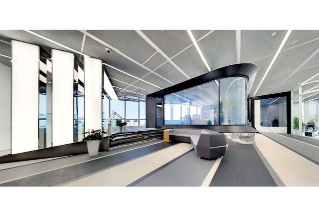 The headquarters for adidas group in Shanghai, designed by PDM International. This futuristic fit-out encompasses green building elements.