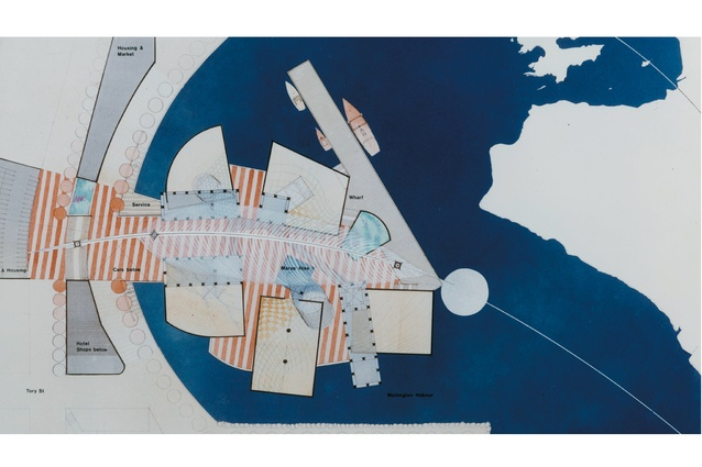 Design competition entry for The Museum of New Zealand Te Papa Tongarewa by Frank Gehry, Rewi Thomson and Ian Athfield.