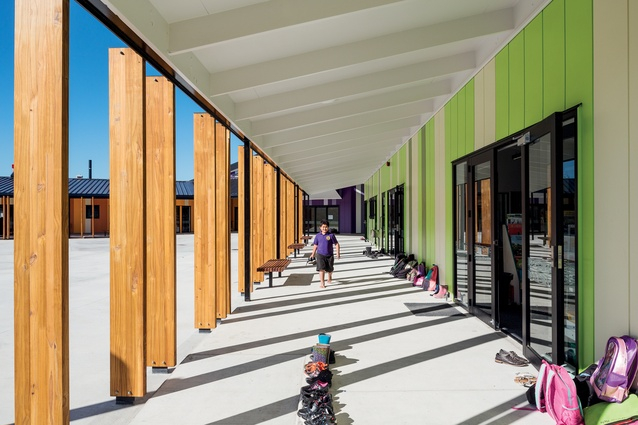 The north-facing verandah provides shading from the sun, and a covered outdoor learning environment and play space for the children.