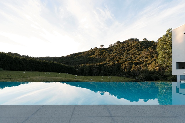 The view across the courtyard infinity pool.