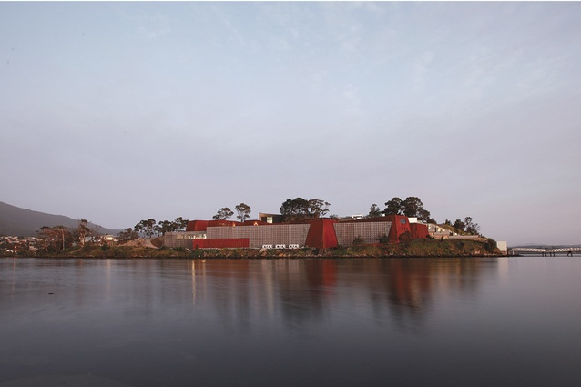 View of MONA as if arriving by boat. MONA — Museum of Old and New Art by Fender Katsalidis Architects, Public Architecture: Sir Zelman Cowen Award.