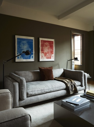 The apartment is furnished and painted in a masculine palette of greens and greys.