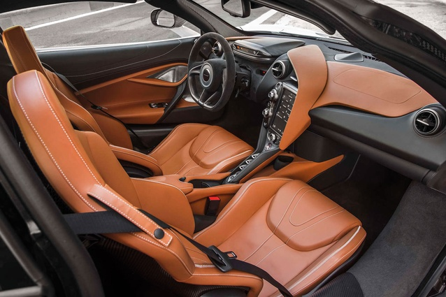 The interior of the McLaren 720S is roomy compared with its rivals. Seating and steering are highly adjustable.