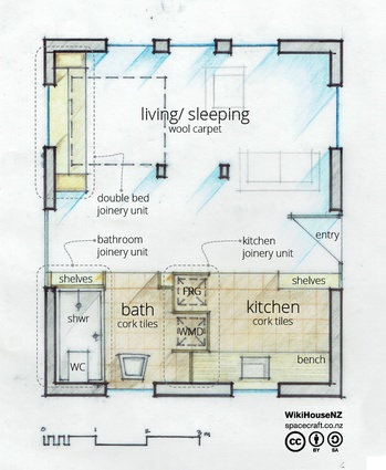 Floor plan of a WikiHouse starter home. You can start off with the nucleus of a bigger house.