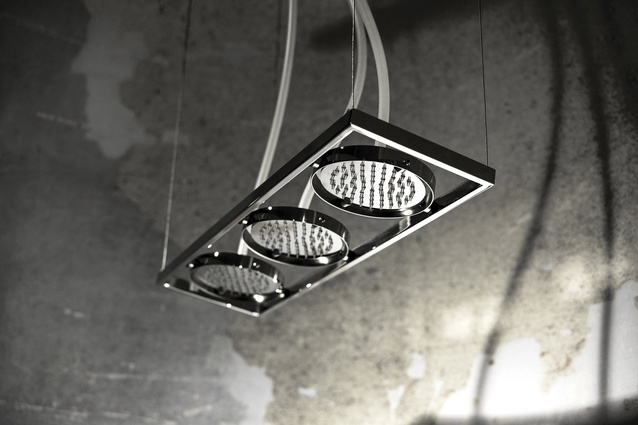 Water is supplied to the Fima Carlo Frattini Nu triplet showerheads through  silicone pipes.