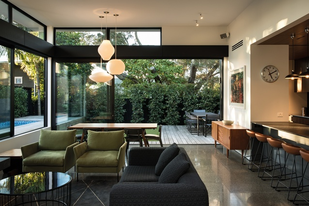 Grey Lynn House. The homeowners had a great collection of artwork and a love for mid-century furniture, which informed the design of the pavilion.
