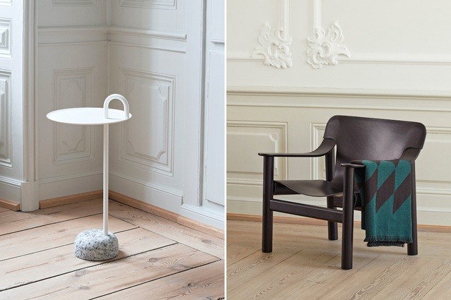 Hay's Bowler side table, designed by Shane Schneck; Hay's Bernard chair, designed by Shane Schneck.