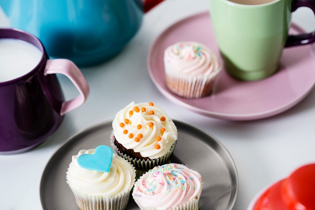 Plates that look as good as the cupcakes sitting on them.