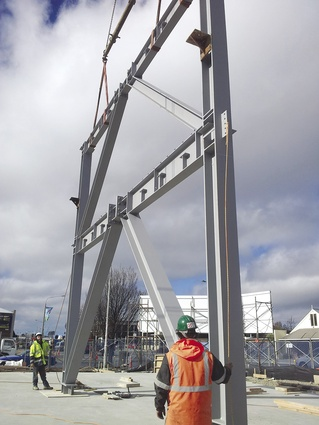 The eccentric brace frame is erected.